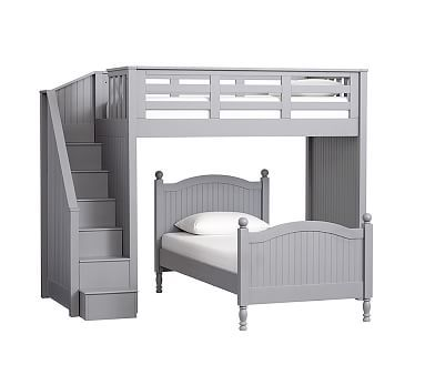 Catalina Stair Loft Bed & Twin Bed Set, Charcoal