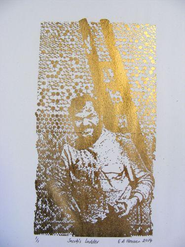 E A Hansen, Jacob's Ladder, 2014, digital print with gold leaf