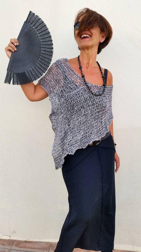 Poncho gris algodón chal de algodón poncho tejido gris por EstherTg