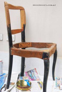 Retapizar una silla paso a paso. Deco Decori: Silla francesa antes y después