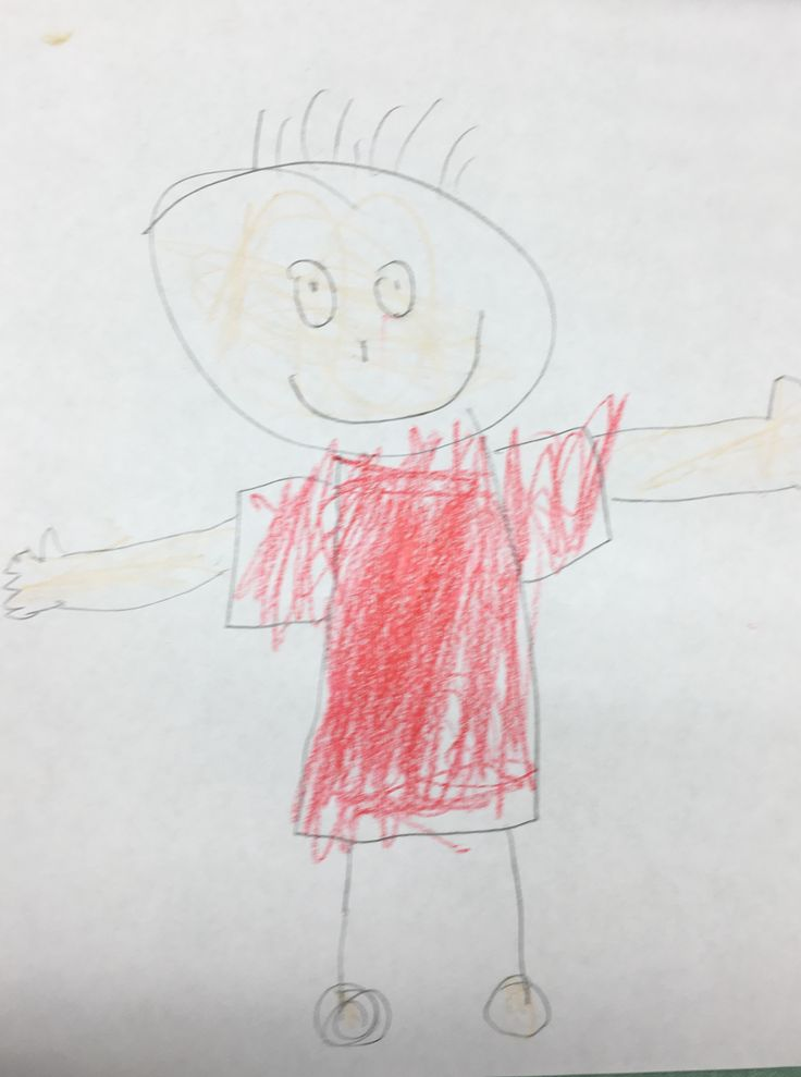 Male, 5 years old, pencil and crayon, 5x7  It was created in Fall 2017 at Schneider Elementary School, North Aurora, IL. The vertical lines for legs, circle feet, as well as, circle head confirm the student is in the pre-schematic stage. The student arms indicate the student could soon be transitioning into the schematic stage, especially the detail of four fingers and a thumb.