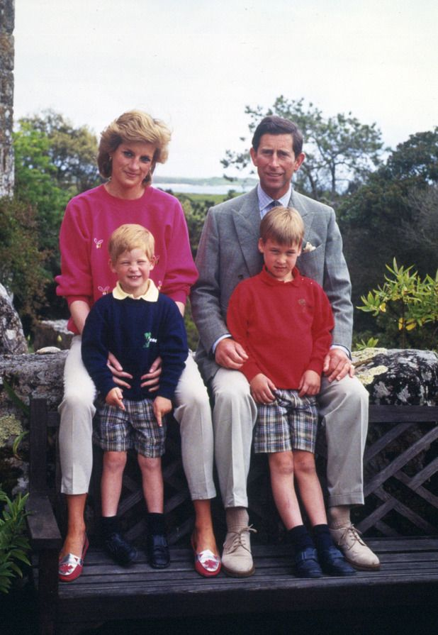 Princess Diana and Prince Charles with sons Prince William and Harry in Cornwall in 1989.
