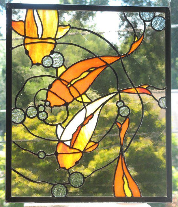 Koi Stained Glass Panel by trilobiteglassworks on @DeviantArt