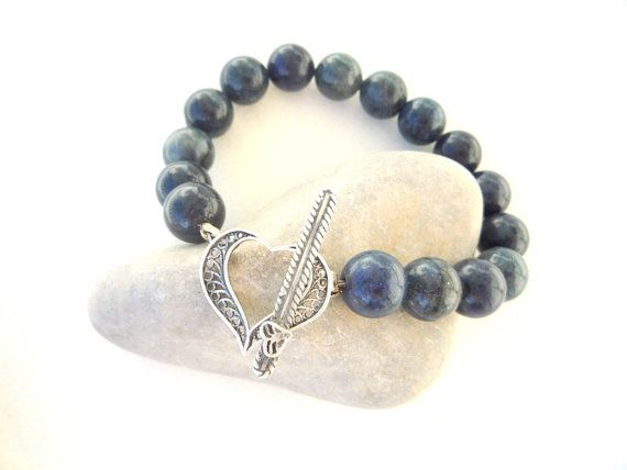 Dumortierite semiprecious stones  bracelet  with  by Iridonousa