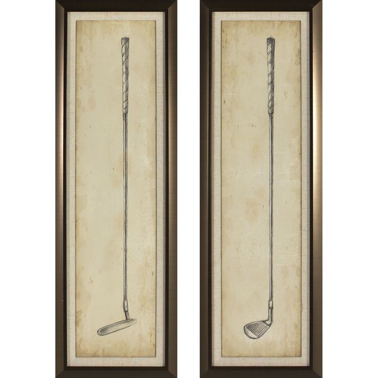 Decor Therapy Vintage Golf Clubs Golden 2-piece Framed Wall Art Set