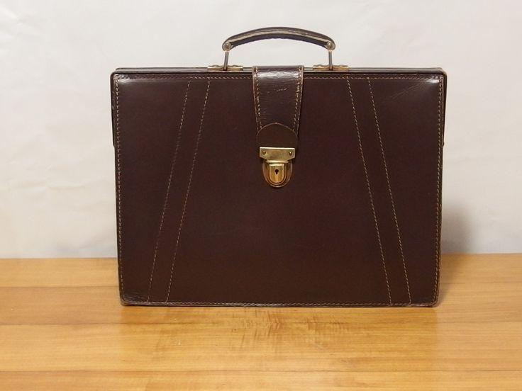 Vintage Brown Leather Briefcase Satchel Bag Laptop Bag Unisex Business Work Bag Lawyer's Case by VintageHomeStories on Etsy