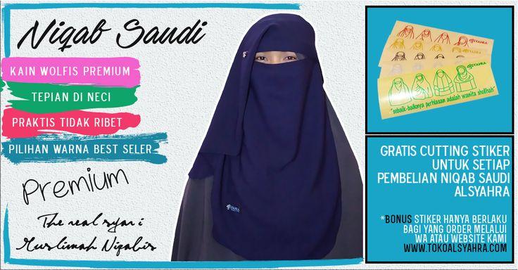 September Ceria :     👉Setiap Pembelian Niqab Saudi Original Alsyahra, GRATIS Cutting stiker seperti pada gambar.     *Bonus Stiker HANYA berlaku bagi yang melakukan order melalui WA 081288870630 atau Website