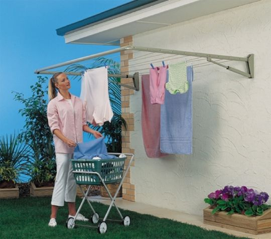 house-mount clothesline; how much clearance below?  how high - angles