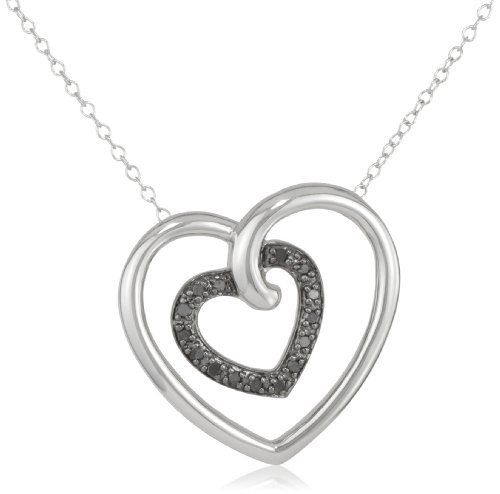 "Sterling Silver Black Diamond Heart in Heart Pendant Necklace (.17 cttw), 18"" Amazon Curated Collection. $65.00. Made in China. Rhodium plated. All our diamond suppliers certify that to their best knowledge their diamonds are not conflict diamonds.. The total diamond carat weight listed is approximate. Variances may be up to .01 carats."