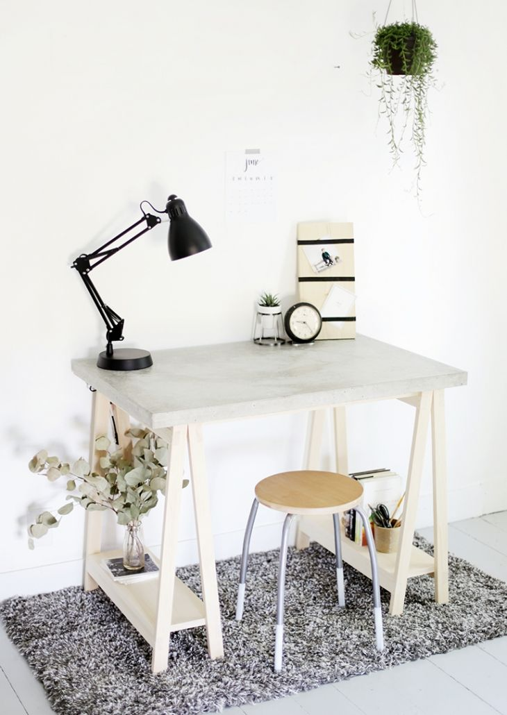 DIY Concrete Desk | www.homeology.co.za  #crafts #craftprojects #DIY #loveDIYs #homedecor #homeoffice #workfromhome #decor