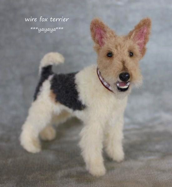 Realistic Wire Fox Terrier by yayaya, Japanese needle felt artist