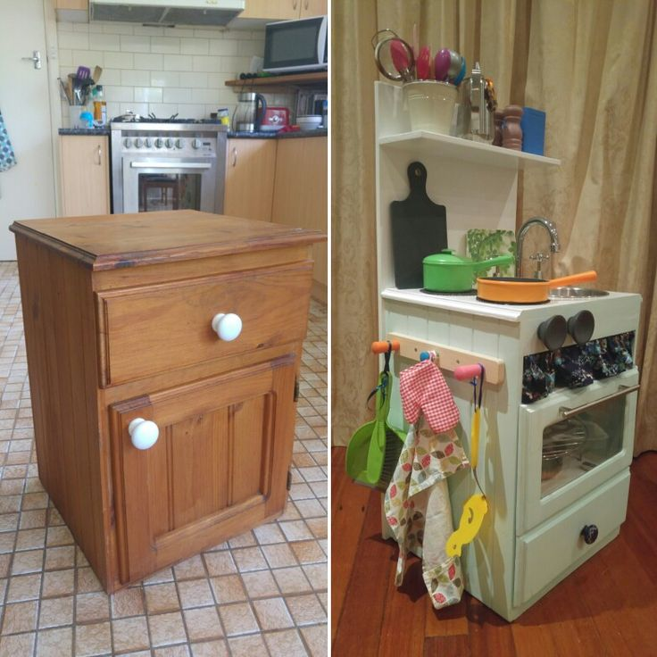 Before and after: upcycled play kitchen I made for my daughter's 2nd birthday from a bedside locker