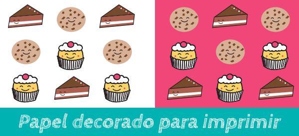 papel decorado con ilustraciones de tartas, galletas y cupcakes