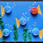 Easy Kids crafting fun - bottle top fish