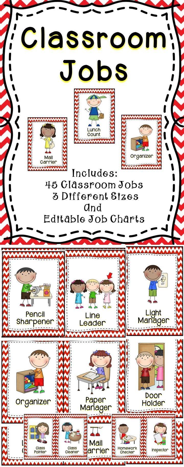 Classroom Worksheet Ideas ~ Classroom jobs editable teaching ideas