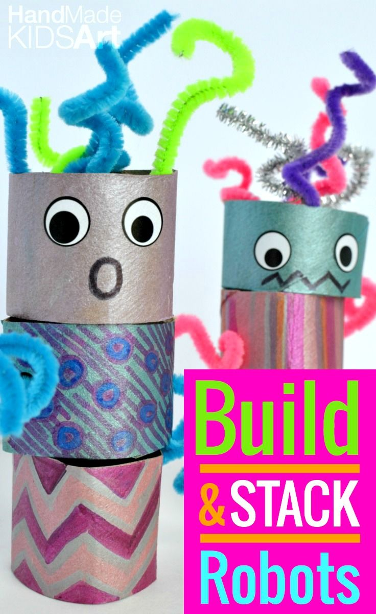 Easy Crafts for Kids: Encourage creative play and creative thinking with this easy build your own robot project. I love it uses recycled materials. I can do this craft today with the kids!