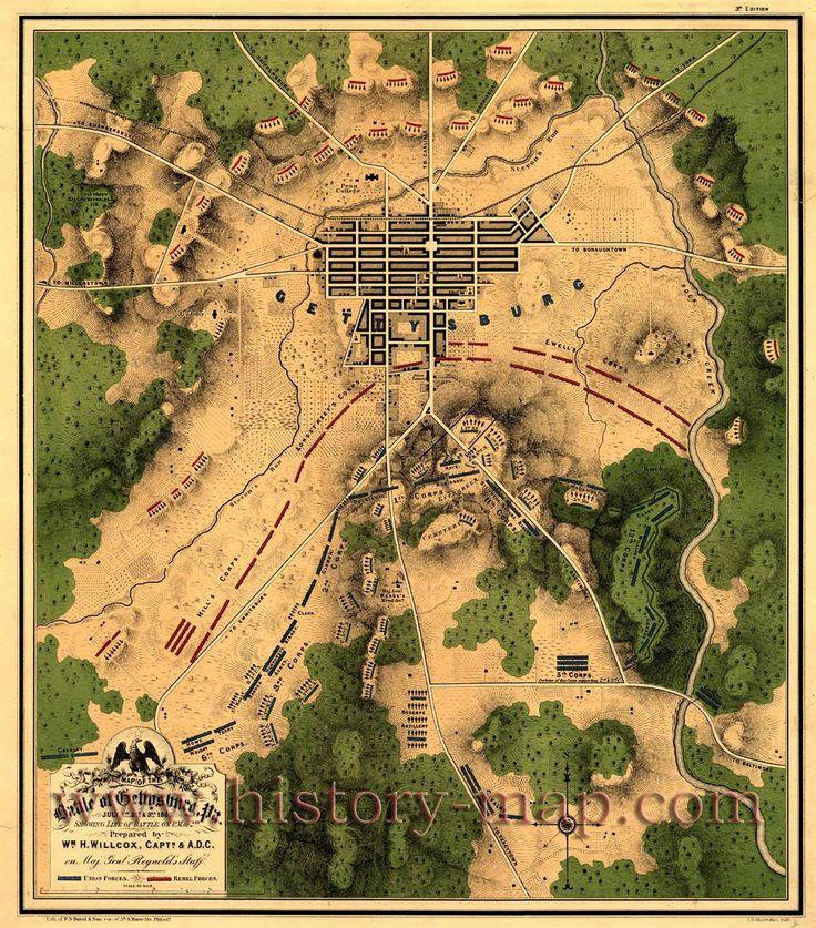 gettysburg battle | Map of the battle of Gettysburg, Pa