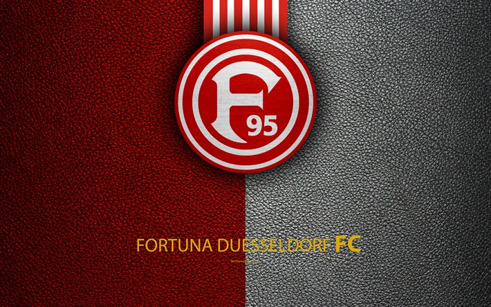 Download wallpapers Fortuna Duesseldorf FC, 4k, leather texture, German football club, Fortuna logo, Dusseldorf, Germany, Bundesliga 2, second division, football