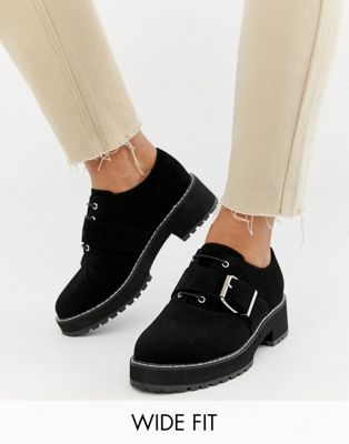 911cfefee70 DESIGN Wide Fit Matter chunky lace up flat shoes in 2019