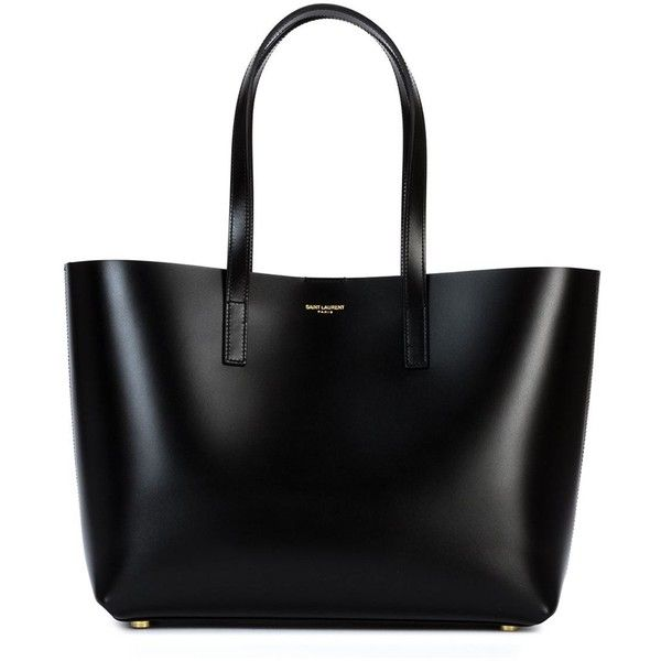 Saint Laurent medium 'Paris' tote ($1,345) ❤ liked on Polyvore featuring bags, handbags, tote bags, purses, totes, bolsas, black, leather purse, black leather pouch and black handbags