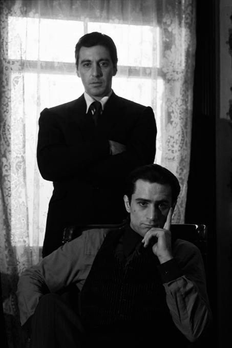Al Pacino and Robert DeNiro © Steve Schapiro  Love these guys.
