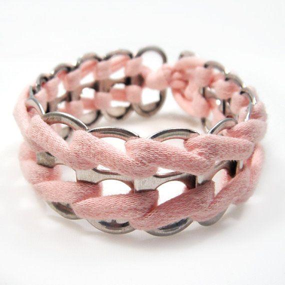 Sweet Whisper Pink Upcycled Soda Tab Bracelet by RandallWear, $18.00