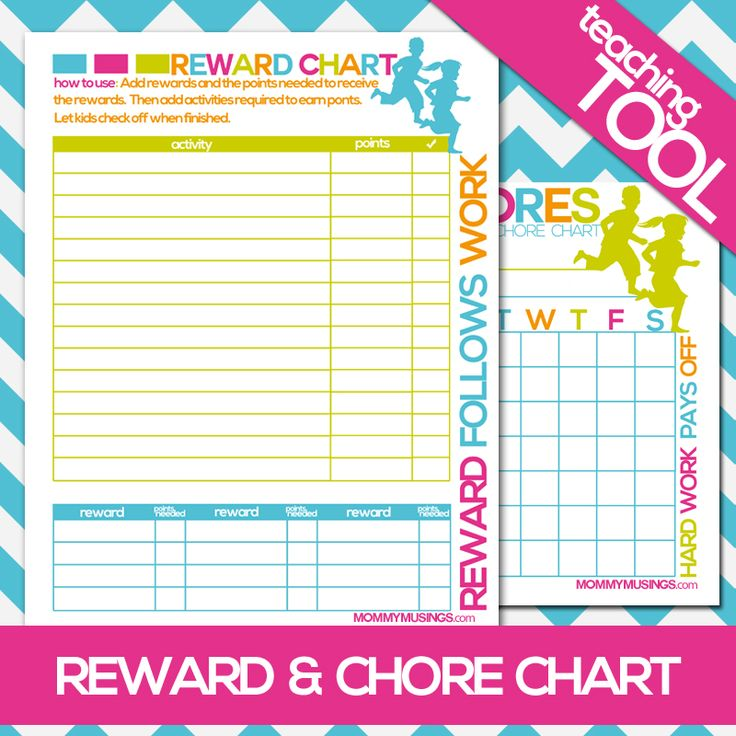 FREE Printable Kids Chore & Rewards Chart! — Add your own chores, points & rewards and print as needed.