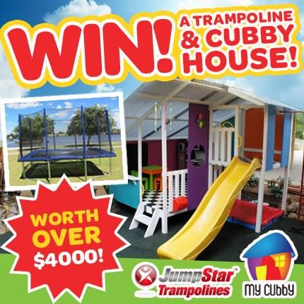 WIN an awesome Cubby House and rectangular trampoline package worth over $4000!! Re-pin and ENTER here - http://www.jumpstartrampolines.com.au/win-ezp-13.html