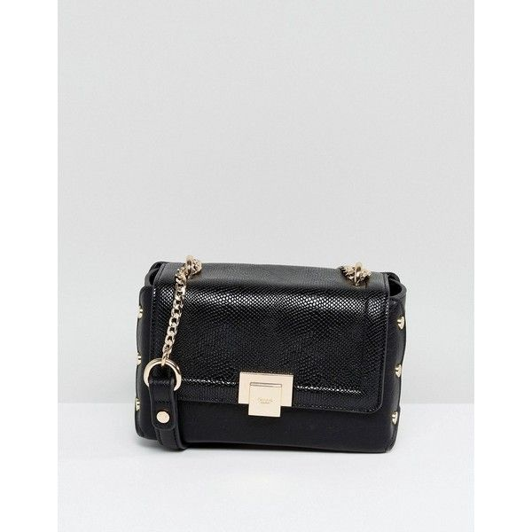 Dune Dimlie Across Body Bag With Reptile Effect (776.710 IDR) ❤ liked on Polyvore featuring bags, handbags, shoulder bags, black, studded cross body purse, dune purse, dune handbags, studded shoulder bag and crossbody shoulder bag