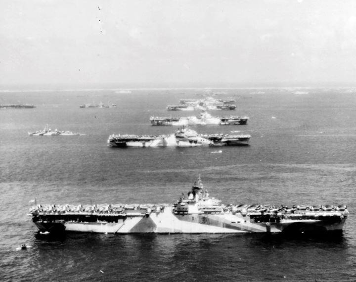 USS Wasp USS Yorktown USS Hornet USS Hancock USS Ticonderoga and other warships at Ulithi Atoll Caroline Islands 8 December 1944.
