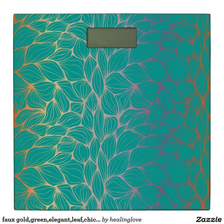 Photographic Gallery faux gold green elegant leaf chic beautiful modern bathroom scale