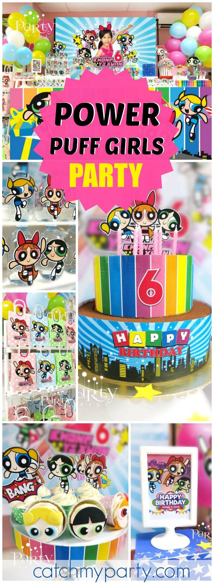 Check out this colorful Power Puff Girls birthday party! See more party ideas at CatchMyParty.com!