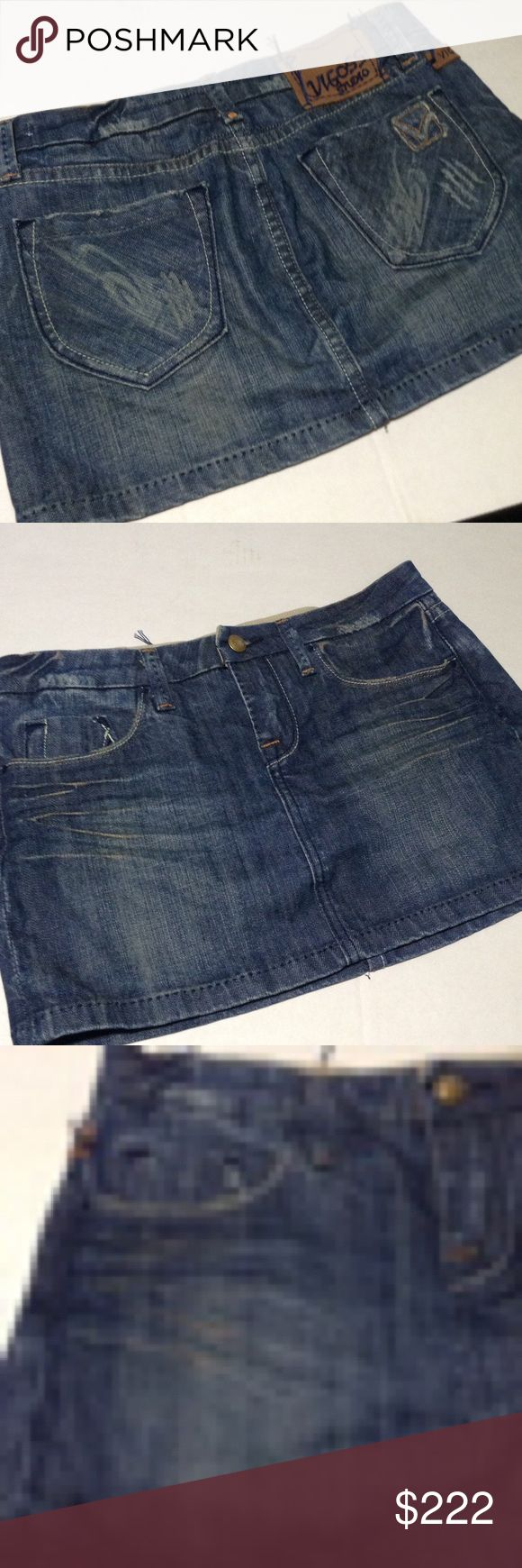 Vigoss Studio Distressed Denim Skirt Hot looking skirt with striking stitching.  Factory distressed and feathered.  Size states 27, but Posh only sizes skirts by size number.  Coordinates with size 3.  Just enough stretch to show off your assets! Vigoss Skirts Mini