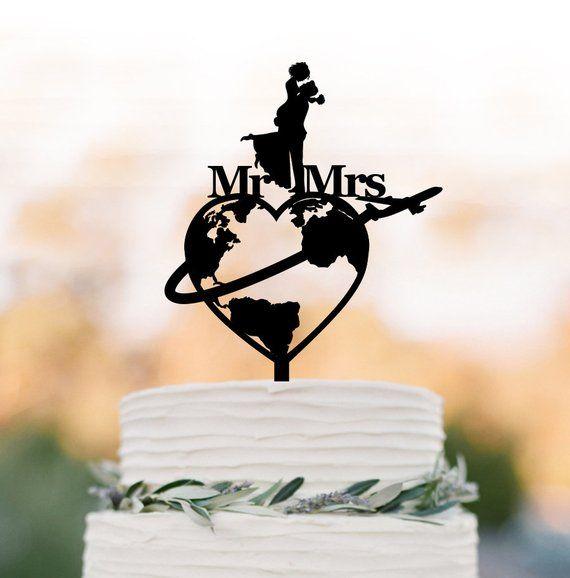 Reisethema Hochzeitstorte Topper, Weltkarte Torte Topper, Flugzeug Herr und Frau ca …   – hochzeit