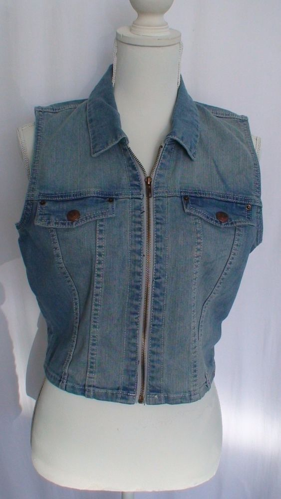Adam Levine Jean Vest Women's Size L #AdamLevine #Vest