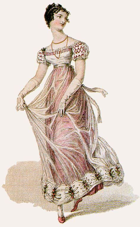 "Jane Austen's World blog - ""Regency Fashion: The Muslin and Net Period"" - research-based article on the rise in popularity of machine nets in evening gowns."