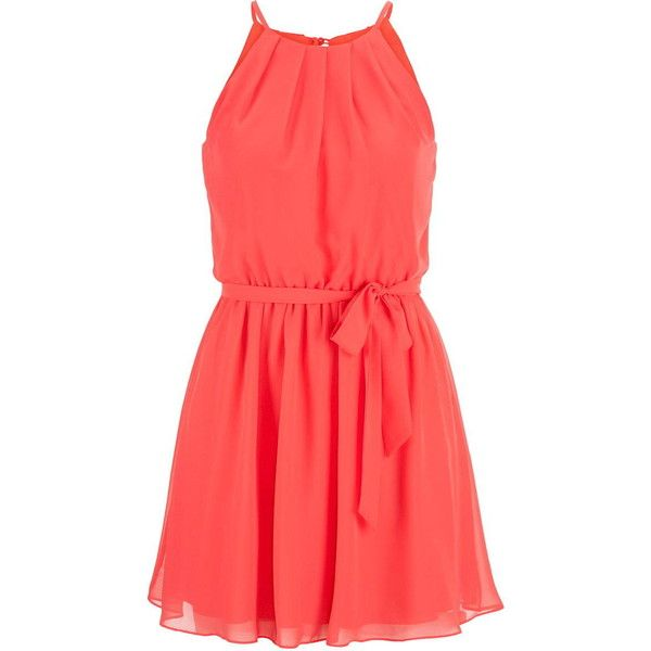 maurices Chiffon Dress In Coral ($26) ❤ liked on Polyvore featuring dresses, vestidos, coral, high neck dress, high neckline dress, button dress, maurices and pleated dress