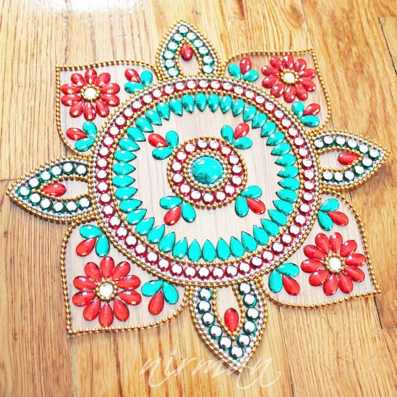 Sunflower Rangoli Rhinestone Wedding table decor Diwali by Nirman