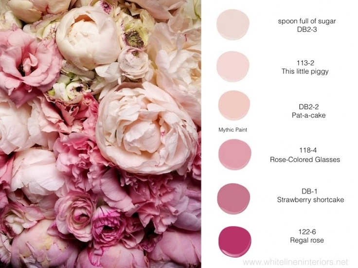 pink peonies + mythic paint color palette  www.whitelineninteriors.net