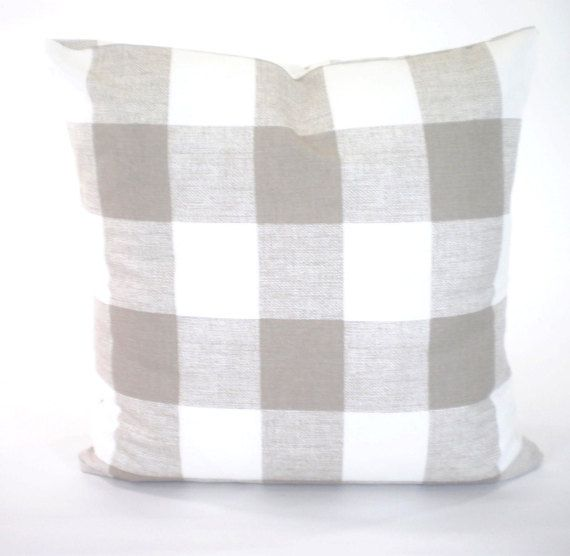 taupe white buffalo check throw pillow by
