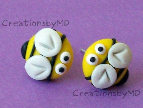 These cute earrings are made by me from Fimo clay (lead and nickel free base).  Size: about 10-13mm  Earrings can be a little different than on the