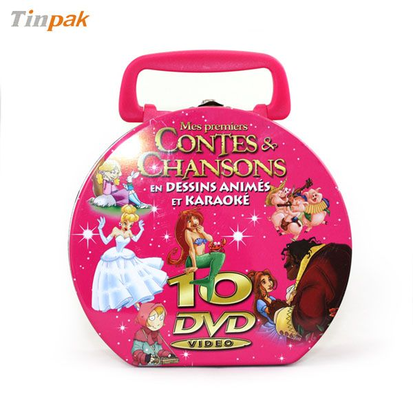 This custom DVD tin case with handle is very unique. It has a humanized handle for eay carry-on. It looks cool and feels cool which with a delicate looking. It made up of 3pcs of upscale tinplate.