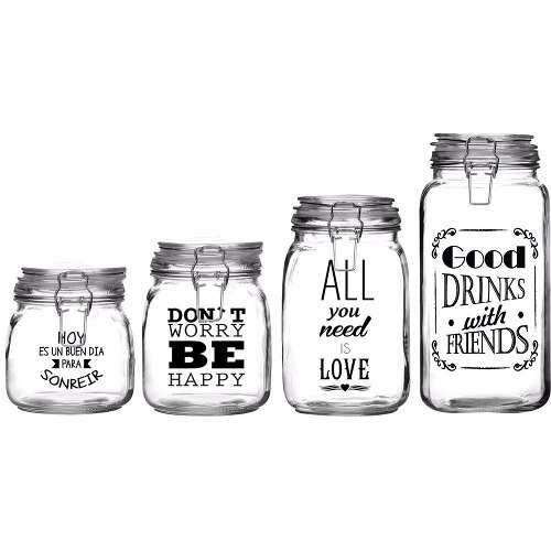 etiquetas autoadhesivas frases frascos vasos botellas x 55