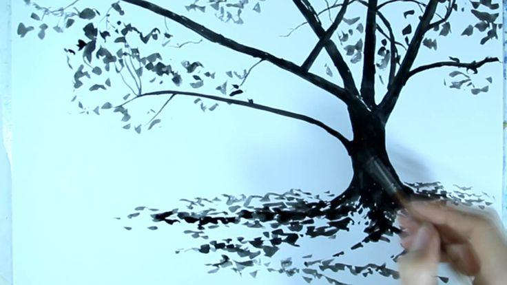 Рисунок линерами.  Как нарисовать дерево в 3 слоя.  Ускоренное видео