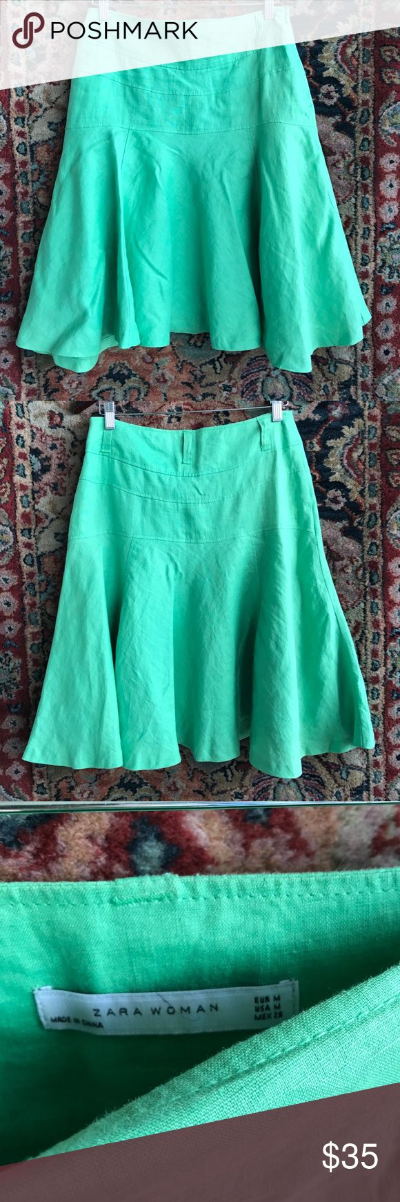 """Zara Linen Trumpet Skirt Flattering! Belt loops and size zip closure. In excellent condition. Banded waist and hips. 15"""" waist and 23.25"""" L. Note, final image shows true color Zara Skirts A-Line or Full"""
