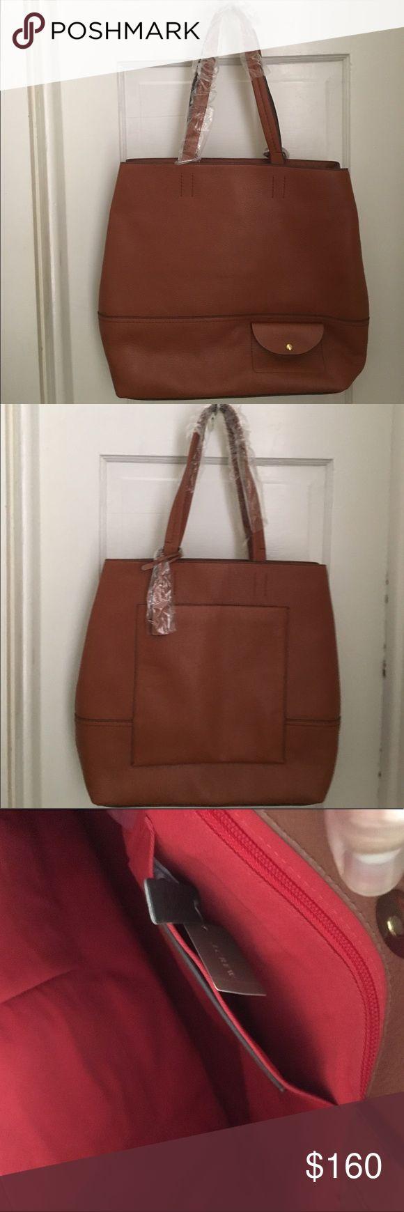 """J Crew tote bag. New with tags. Size 13 3/4"""" H x 13 1/4 W x 4 7/8 D.Roasted Chestnut color. J. Crew Bags"""