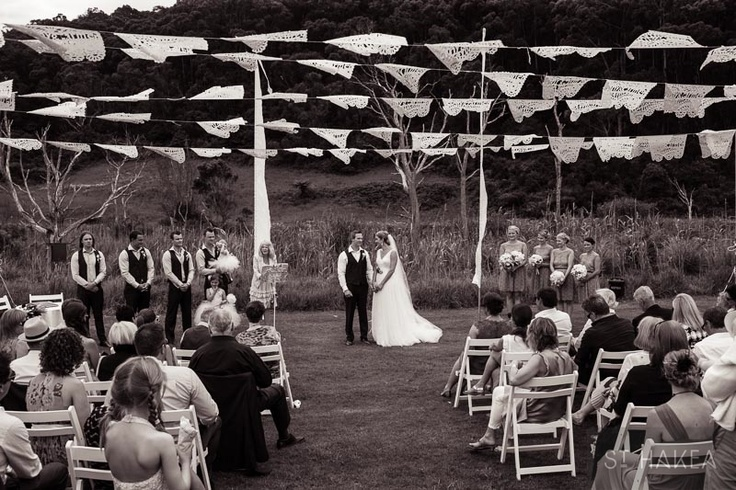 ceremony. mexican flags. Styled by St. Hakea sthakea.com
