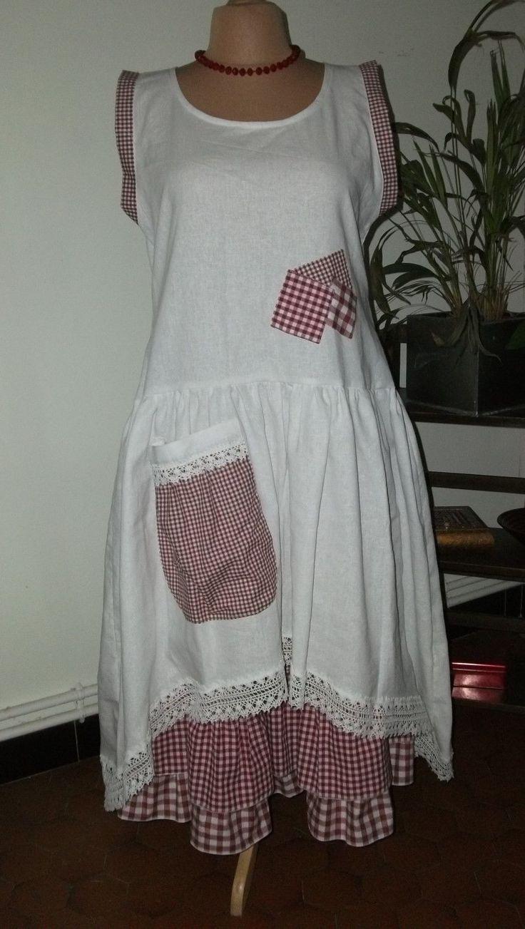 Superbe Robe EN LIN Avec Martingale T 40 46 Shabby Romantique Boheme | eBay