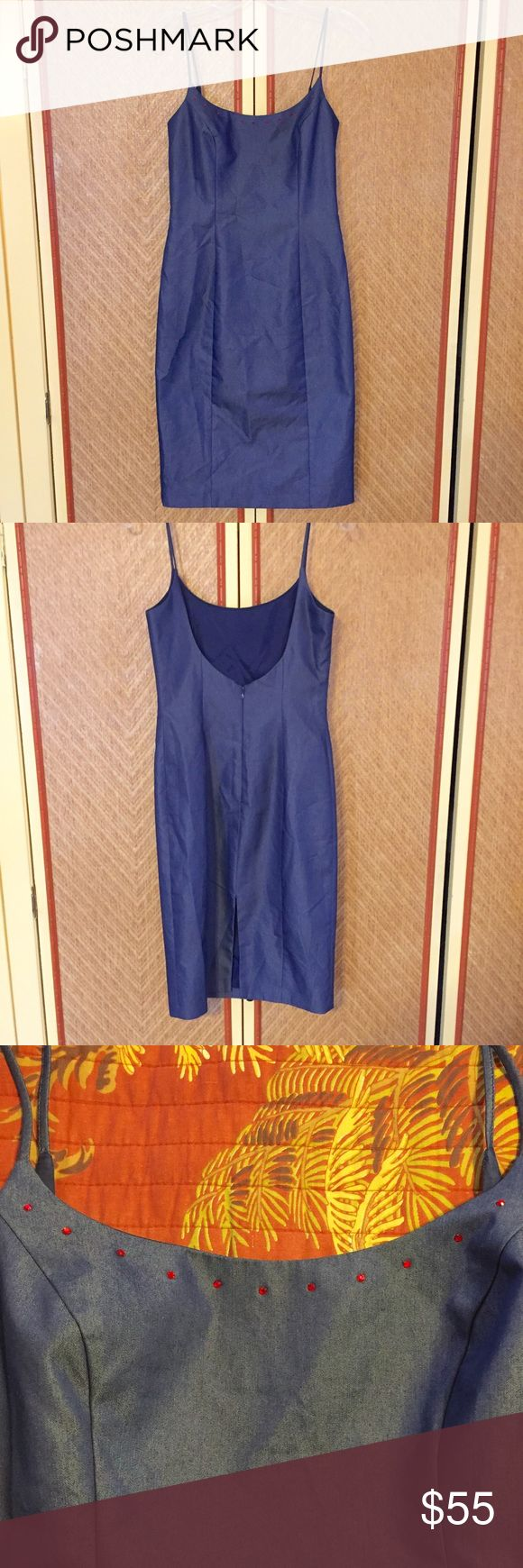 ABS by Allen Schwartz navy blue cocktail dress Beautiful form fitting cocktail dress. Navy blue with a denim look. Small red rhinestones adorn the neckline. Spaghetti straps, scoop back, back zip, and center back slit.   Size 4, please let me know if you would like any measurements.   Excellent preowned condition. ABS Allen Schwartz Dresses