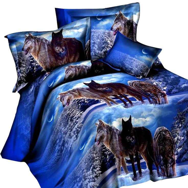 >> Click to Buy << 4 Pcs/lot Bedding Outlet Wolf Bedding Set Painting 3D Vivid Duvet Cover with Pillowcases Sheet Twill Cool Bed Set  #Affiliate